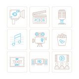 Set of vector cinema icons and concepts in mono thin line style Stock Photo