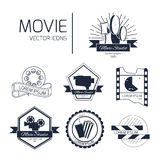 Set of vector cinema logos. And signs. Movie studios and cinema badges. Vintage emblems with sample text Royalty Free Stock Photos