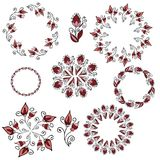Set of vector circle frame of flowers Stock Photography