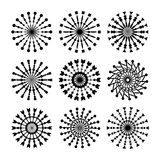 Set Of 9 Vector Circle Ornaments For Design. Decorative Stamp patterns. Stock Image