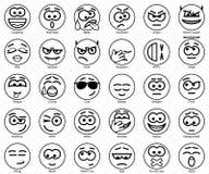 Set Vector Circle Smiles. Set 30 Vector Circle Smiles Stock Photo