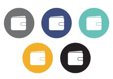 Set of vector circular wallet icons in different colors - usable. For e-shop or web Royalty Free Stock Image