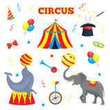Set of vector circus elements. A collection of circus tent, balloon, horn, hat, magic stick, bow tie, monocycle Stock Photos