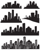 Set of vector cities silhouette Stock Photo