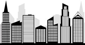 Set of vector cities silhouette. Vector city skyline silhouette black and white clipart Stock Image