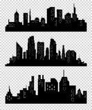 Set of vector cities silhouette Stock Photography