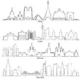 Set of vector cities silhouette Paris, Berlin, Moscow and New Y Stock Images