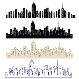 Set of vector cities silhouette. Night town on transparent background. Set of city landscapes stock illustration