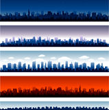 Set of vector cities silhouette stock illustration