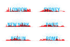 Set of vector city skyline Royalty Free Stock Image