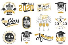 Set of Vector Class of 2020 badges. Concept for shirt, print, seal, overlay, stamp, greeting, invitation card