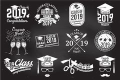Vector Class of 2019 badge. Concept for shirt, print, seal, overlay or stamp, greeting, invitation card. Set of Vector Class of 2019 badges. Concept for shirt stock illustration