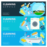 Set of vector cleaning service company site banners in flat styl Royalty Free Stock Photos