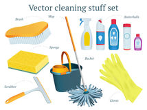 Set of vector cleaning stuff design with mop, bucket, butterball. S, sponge, gloves, scrubber, moistures Royalty Free Stock Photo