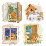Set vector clip art illustrations of bored teddy bears. Set of vector clip art illustrations of bored teddy bears. I miss you Stock Photos