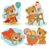 Set of vector clip art illustrations of brown teddy bear wishes you a happy birthday. Royalty Free Stock Photos