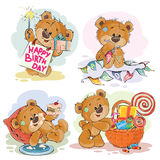 Set of vector clip art illustrations of brown teddy bear wishes you a happy birthday. Stock Images