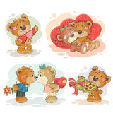 Set vector clip art illustrations of enamored teddy bears royalty free illustration
