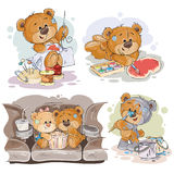 Set vector clip art illustrations of enamored teddy bears. Set of vector clip art illustrations of enamored teddy bears. Print for Valentines Stock Image