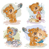 Set vector clip art illustrations of enamored teddy bears. Set of vector clip art illustrations of enamored teddy bears. Print for Valentines Royalty Free Stock Photos