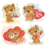 Set vector clip art illustrations of enamored teddy bears. Set of vector clip art illustrations of enamored teddy bears. Print for Valentines Royalty Free Stock Photo