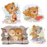 Set vector clip art illustrations of enamored teddy bears Royalty Free Stock Photos