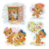 Set vector clip art illustrations of funny teddy bears Royalty Free Stock Photos
