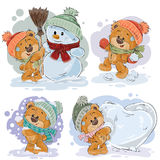 Set vector clip art illustrations of funny teddy bears. Set of vector clip art illustrations of funny teddy bears in winter. Image for cards Stock Photos
