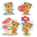 Set vector clip art illustrations of teddy bears. Set of vector clip art illustrations of enamored teddy bears in various poses - holding a bouquet of flowers Royalty Free Stock Photography