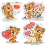 Set vector clip art illustrations of teddy bears. Set of vector clip art illustrations of enamored teddy bears in various poses - holding a valentine postcard Stock Photo
