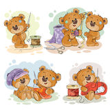 Set of vector clip art illustrations of teddy bears and their hand maid hobby Royalty Free Stock Images