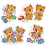 Set of vector clip art illustrations of teddy bears and their hand maid hobby. Sewing, knitting Stock Photography
