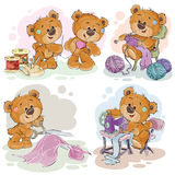 Set of vector clip art illustrations of teddy bears and their hand maid hobby. Sewing, knitting stock illustration
