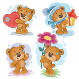 Set vector clip art illustrations of teddy bears. Set of vector clip art illustrations of teddy bears in various poses - holding a heart, flower, gift Royalty Free Stock Images