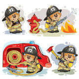 Set of vector clip arts of teddy bear fireman. Set of vector clipart illustrations of teddy bear firefighter with rescue equipment  on white. Prints, design Royalty Free Stock Image
