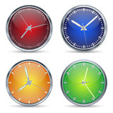 Set of vector clocks. A four vector clock on white background royalty free illustration
