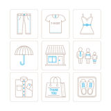 Set of vector clothes icons and concepts in mono thin line style.  Stock Photo