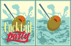 Set of vector Cocktail party posters Royalty Free Stock Photography