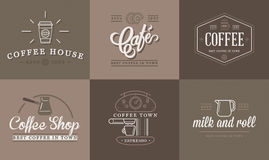 Set of Vector Coffee Elements and Coffee Accessories Illustration can be used as Logo. Or Icon in premium quality Royalty Free Stock Photography