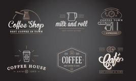 Set of Vector Coffee Elements and Coffee Accessories Illustration can be used as Logo Stock Photography