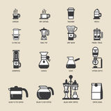Set of Vector Coffee Elements and coffee machine icons Illustration. Royalty Free Stock Images