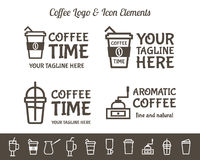 Set of Vector Coffee Elements and restaurant line icons Accessories Illustration. Can be used as Logo, Label in cafe Stock Photography