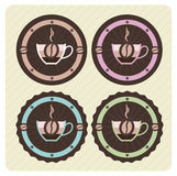 Set of vector coffee icons. In vintage colors Royalty Free Stock Image