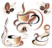 SET of Vector coffee,tea elements. Set coffee tea beans floral leaf cup Stock Photos