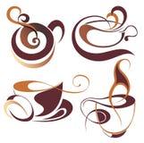 SET of Vector coffee,tea elements. Coffee tea design cup sign drink espresso Stock Images