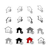 Set of vector Collection modern vector. House Money multi type o. F 3d isometric, solid, line, scribble hatch, doodle, shadow isometric and a little colour on Stock Image