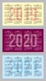 Set of vector color calendar grid templates in business card format.  royalty free illustration
