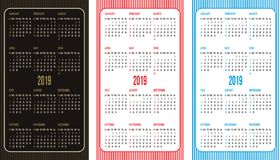 Set of vector color calendar grid templates in business card format.  stock illustration