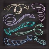 Set of vector color chalk doodle arrows. Stock Photo