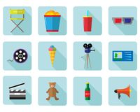 A set of vector color icons for cinema and movies.  Royalty Free Stock Photography